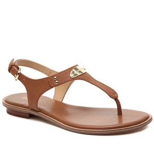 Michael Kors Plate Sandal Leather Cognac Thong